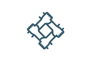 Animated interlocking arms forming diamond icon