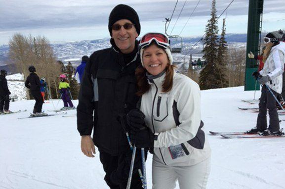 Dr. Novak and wife skiing