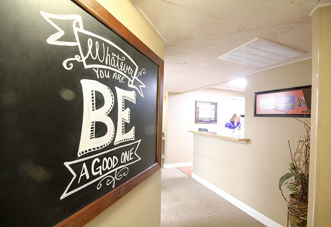 Hallway and motivational quote