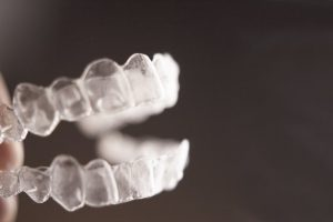 close-up of clear aligner